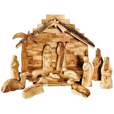 wooden nativity set carversart modern olive wood nativity set with stable and palm