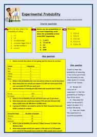 maths ks3 experimental probability worksheet by bcooper87