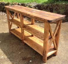 rustic x console table rustic x console table