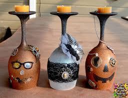 vintage steampunk halloween wine glasses candle holders