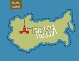russia map map of russia in the form of skins vector illustration