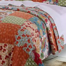 vintage country floral pattern orange red cotton reversible quilt