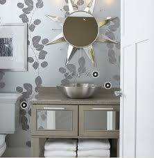 silver bathroom wallpaper design ideas