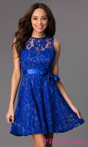 blue lace dress sleeveless cheap lace party dress promgirl