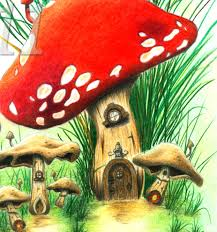 mushroom village fantasy fairy tale fine art print