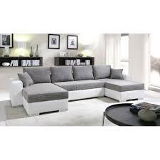canapé cuir en u canapé d angle panoramique convertible enno en u design gris et