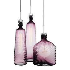 Purple Pendant Light Shade Purple Glass Pendant Light Shade Modern Blown Bottle Lighting