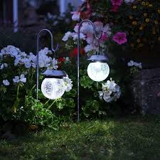 flower solar stake lights solar hanging globe stake lights with shepherd crook best solar