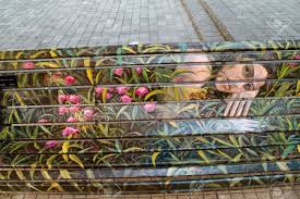 santiago january 20 painted benches by different artists on