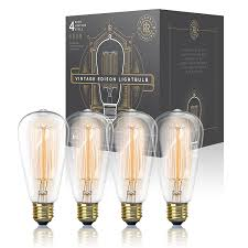 vintage edison light bulb 60w 4 pack dimmable exposed filament