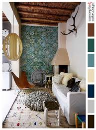 moroccan style living room interior with color palette warm brown