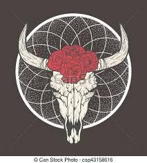 bull skull with roses tribal style