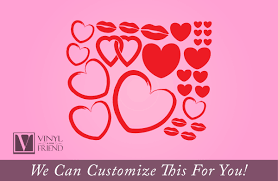 hearts pack for valentines day with lips solid and outlined set hearts pack for valentines day with lips solid and outlined set of 27 pieces a wall jar glass decor vinyl decal sticker 2270
