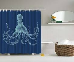 Themed Fabric Shower Curtains Blue Octopus Themed Digital Print Fabric Shower Curtain Hooks Incl