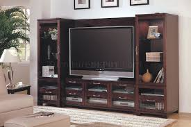 entertainment centers with glass doors cappuccino finish modern entertainment wall unit w glass doors