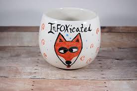 amazon com infoxicated stemless wine glass wine mug funny fox