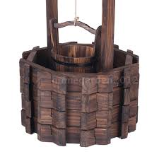Wishing Well Garden Decor Outdoor Wishing Well Planter Fir Wood Flower Bucket Box Garden