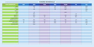 chore list template free weekly schedule templates for excel smartsheet