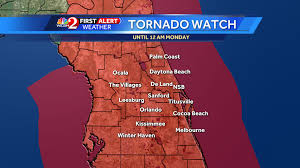 Orlando Weather Map by Brevard Osceola Counties Under Tornado Watch