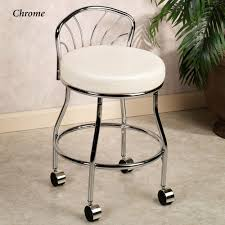 bath flare back metallic finish vanity chair with casters