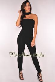 strapless jumpsuit black strapless choker jumpsuit