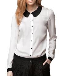 black blouse with white collar black blouse collar blue denim blouses