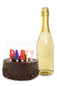 birthday cake and champagne bottle over a white background stock