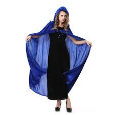 halloween costume with cape amazon com blue witch cosplay cloak masquerade hooded cape
