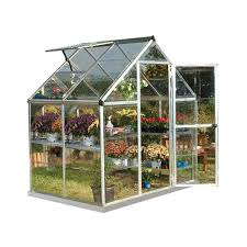 palram harmony 6 ft x 4 ft polycarbonate greenhouse in silver