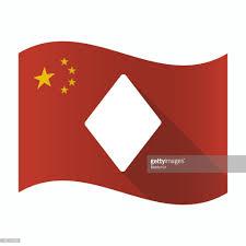 China Flags Wehende Flagge China Mit Dem Diamond Poker Spielkarten Zeichen
