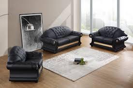 Genuine Leather Sofa Sets Divani Casa Cleopatra Traditional Black Leather Sofa Set Ital