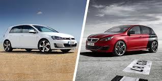 peugeot 308 gti 2012 vw golf gti vs peugeot 308 gti hatch battle carwow