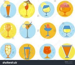 margarita glass cartoon set cocktail glasses circular shape cartoon stock vector 141940765