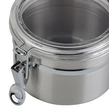 26 oz stainless steel ingredient storage canister with clear