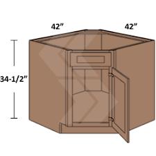 DSB Shaker RTA Maple Brandywine Diagonal Sink Base Cabinet - Sink base kitchen cabinet
