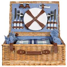 picnic basket set for 4 4 person picnic basket set w blanket brown best choice products