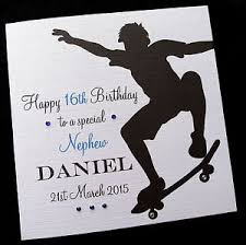 personalised skateboarding boy birthday card brother son grandson