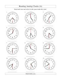 reading time on an analog clock in 30 second intervals a