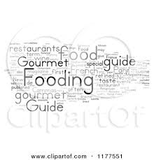 word for cuisine clipart of a grayscale gourmet food word collage on white royalty