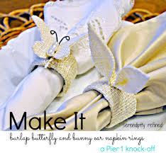 easter napkin rings burlap easter bunny ear and butterfly napkin ring tutorial