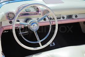 Antique Auto Upholstery Retro Styled Classic American Car Interior With White And Pink