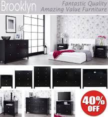 brooklyn black bedroom furniture bedside table large chest of