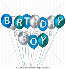 birthday boy happy birthday birthday boy blue balloon card in vector clipart