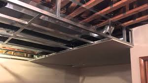 Suspended Drywall Ceiling by Drywall Suspension Grid Frame Youtube