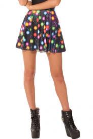 christmas skirt christmas light print high waist pleated mini skirt