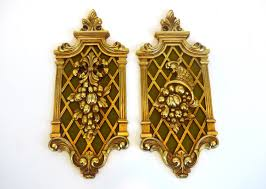 Pair Vintage Gold Ornate Wall Hangings Mid Century Wall Decor