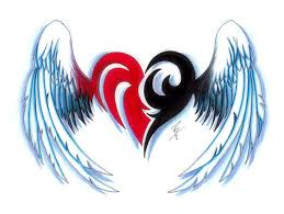 Hearts With Wings - attractive tribal with wings design tattooshunt com