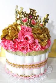 pink and gold baby shower diaper cake crown centerpiece