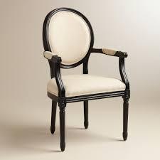 natural linen paige round back black frame armchair world market