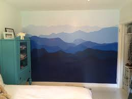 blue ridge mountains painted on bedroom wall interiors